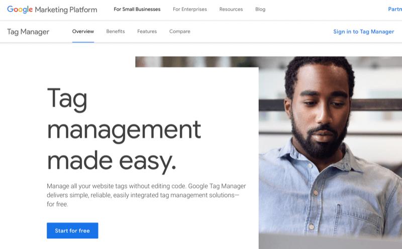 Page d'accueil de Google Tag Manager
