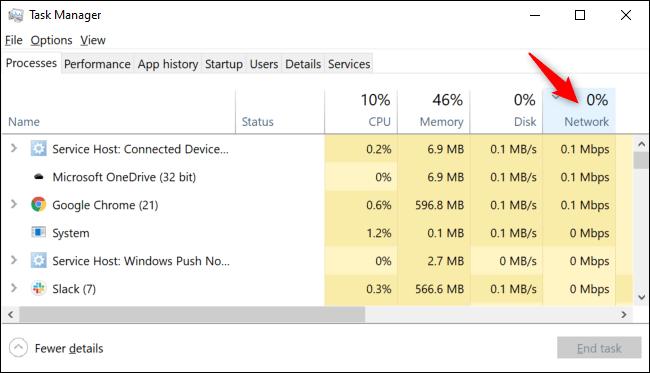 Prozesse, die nach Netzwerknutzung im Windows 10 Task-Manager sortiert sind