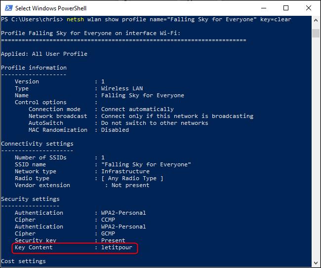 Suchen eines gespeicherten WLAN-Kennworts über die Windows-Befehlszeile