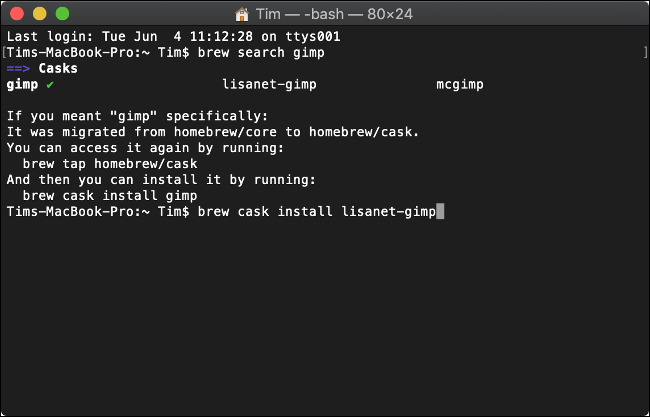 Installation du logiciel avec Homebrew pour macOS