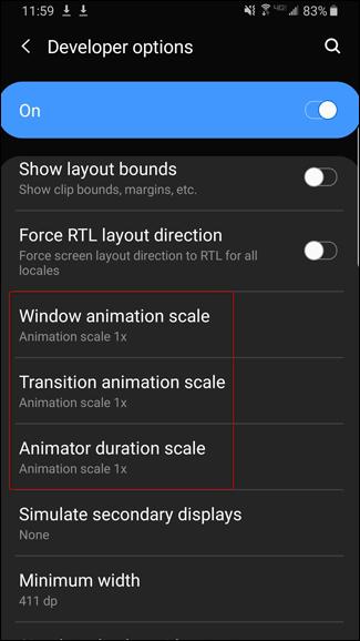 Einstellungen für die Animationsskala auf dem Bildschirm mit den Android-Entwickleroptionen.