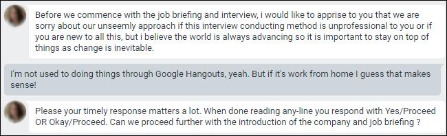 Chat Google Hangouts avec des excuses pour avoir mené des entretiens via le chat