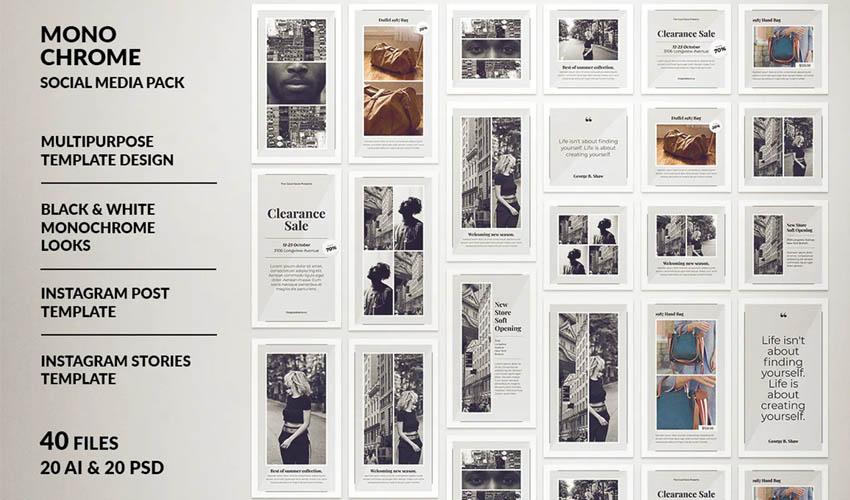 Post Instagram monochrome et histoire Instagram