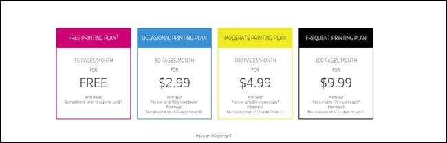 Plan de tarification HP Instant Ink