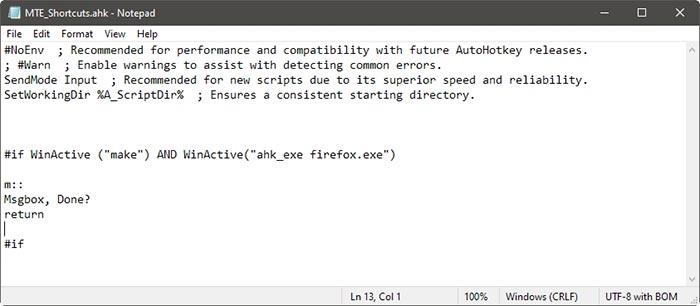 Raccourcis spécifiques à l'application avec définition de la cible de la fenêtre Ahk