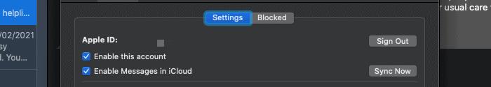 Déconnexion d'iMessage sous macOS.