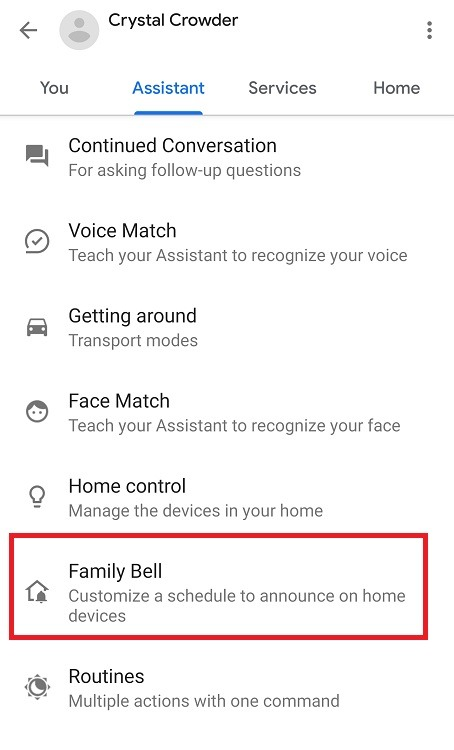 Comment utiliser Google Assistant Family Bell Feature Family Bell