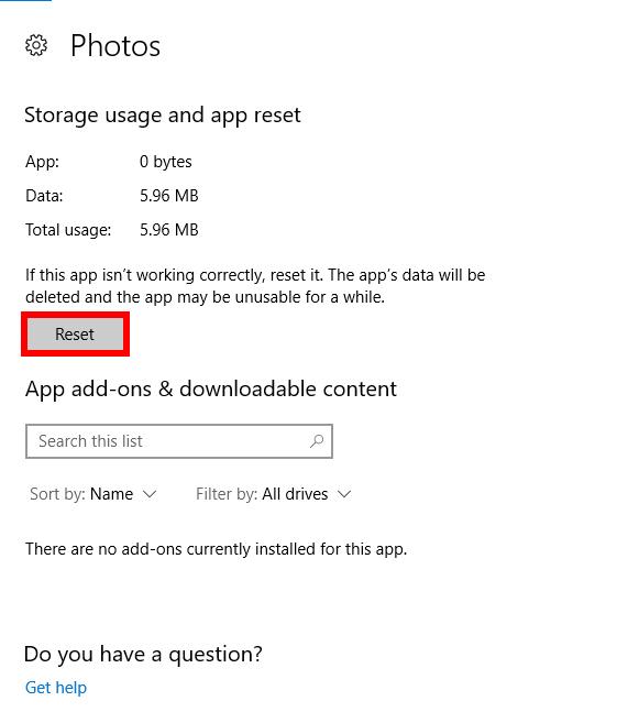 photos-app-ne-fonctionne-pas-réparer-réinitialiser
