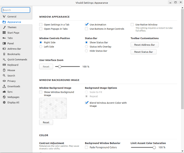 Apparence de Chrome à Vivaldi