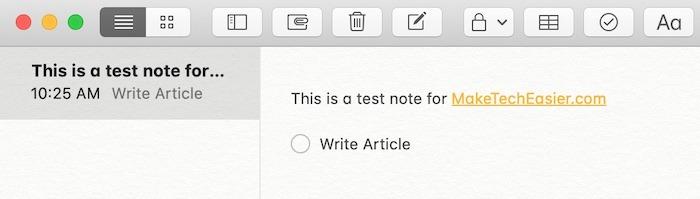 Élément de la liste de contrôle pour Mac Notes de démarrage