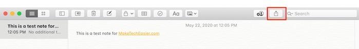 Commencer Notes Bouton de partage Mac