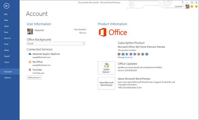 Aperçu du compte Microsoft Word