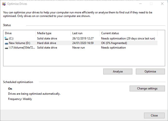 Vérifier la santé du disque dur Windows Optimiser la défragmentation