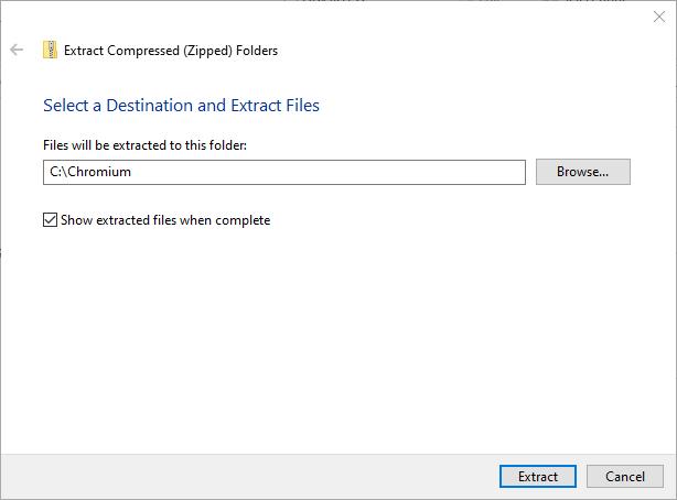Installez Chromium Windows 10 Extract