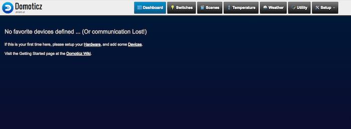 Le tableau de bord Domoticz est une ardoise vierge, prête pour que vous ajoutiez tous vos appareils intelligents