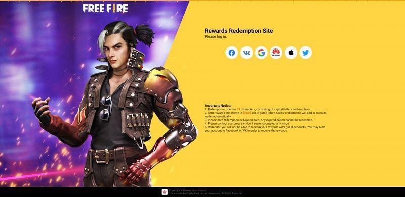 Les utilisateurs ne peuvent pas utiliser de codes d'échange sur le site Web d'échange de récompenses Free Fire sans se connecter