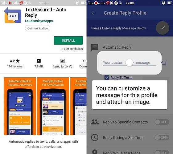 Captures d'écran de personnalisation de TextAssured Auto Reply