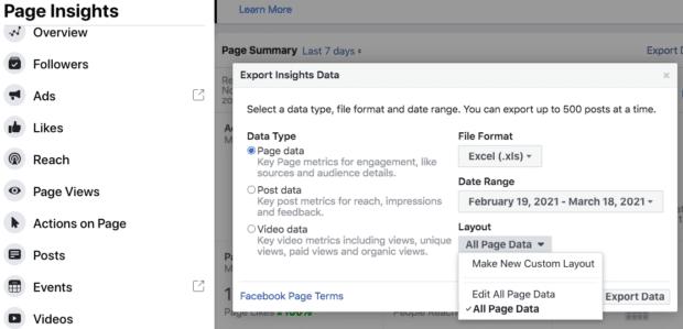 Exportation des données Insights depuis Facebook