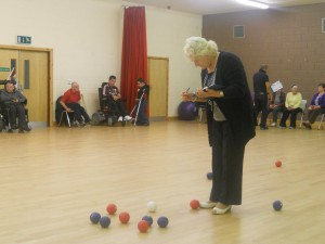 A game of boccia in the Moy Valley Over 55 club!