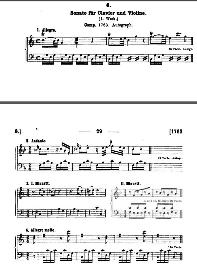 Köchel K 6: la prima Sonata di Mozart del 1763 per tastiera e violino d'accompagnamento