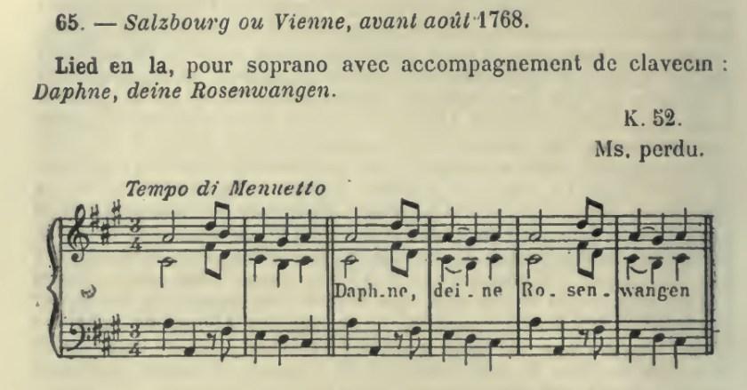 Daphne K 52, secondo Wyzewa e de Saint-Foix
