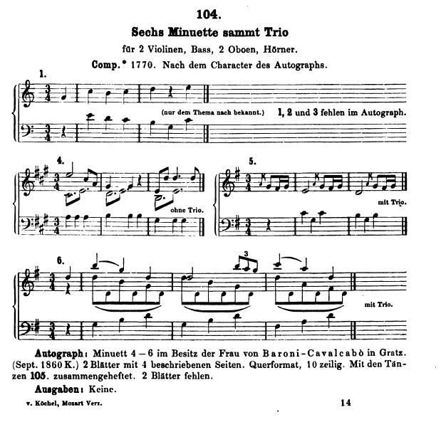 Catalogo Köchel, K.113, 6 Minuetti