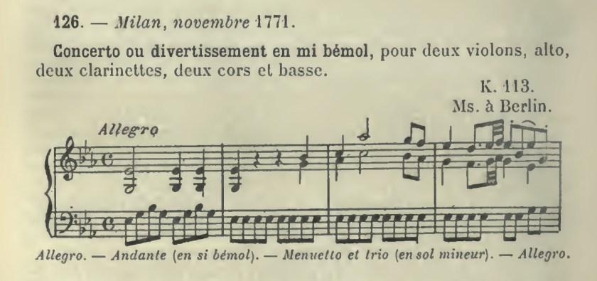 Catalogo Wyzewa - de Saint-Foix, K.113 Divertimento in mi bemolle
