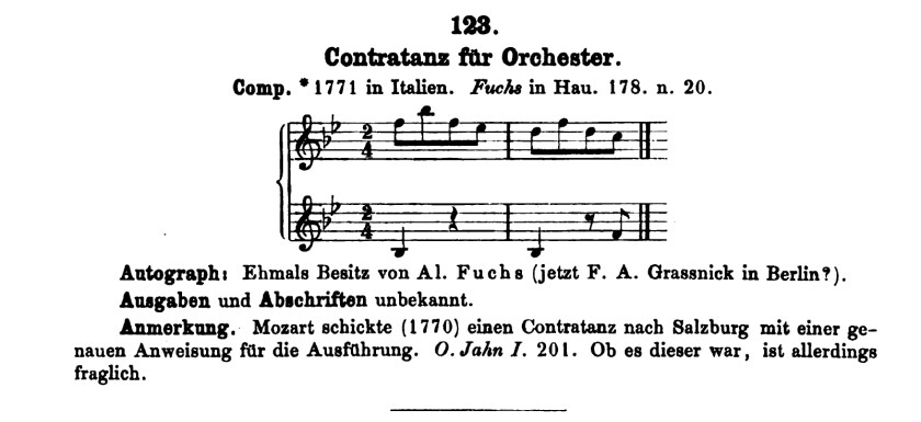 Catalogo Köchel, K 123, contraddanza in sol maggiore