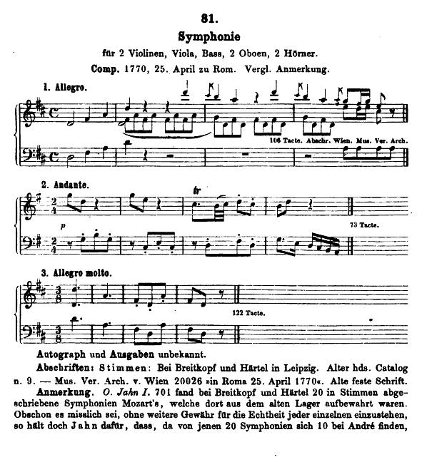 Catalogo Köchel, K.81, Sinfonia in re maggiore