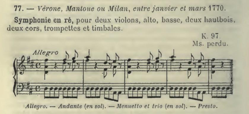 Catalogo Wyzewa - de Saint-Foix 77, K 97, sinfonia in re maggiore