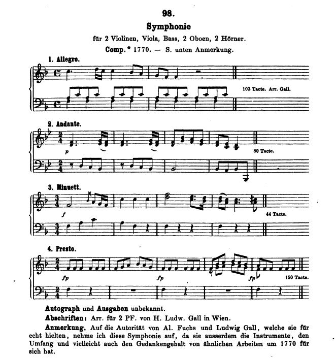 Catalogo Köchel, K.98, sinfonia in fa maggiore