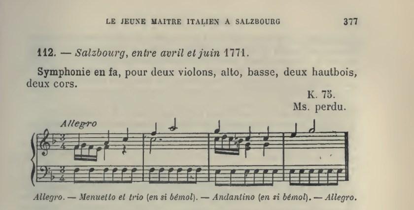 Catalogo Wyzewa - de Saint-Foix 112, K 75, sinfonia in fa maggiore