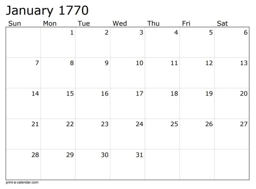 calendario relativo alla lettera del 7 gennaio 1770
