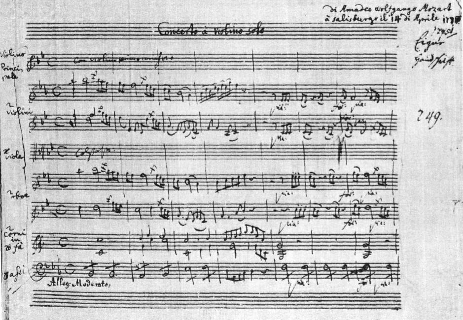 K 207, Concerto per violino in sib