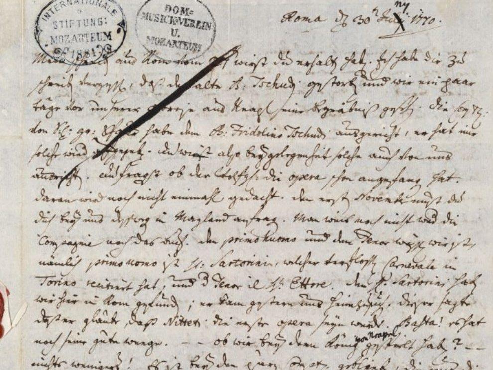 Leopold Mozart, lettera del 30 giugno 1770