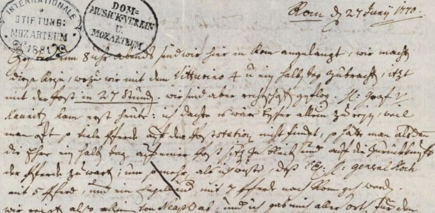 Leopold, lettera del 27 giugno 1770