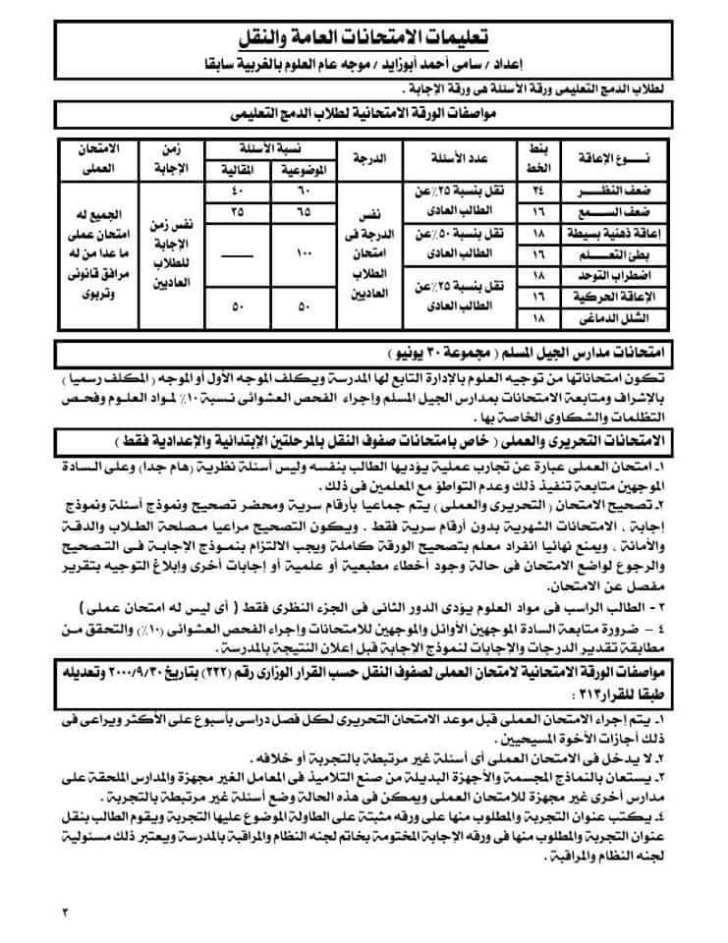 3تعليمات الامتحانات العامة والنقل التحريرية والعملية2020