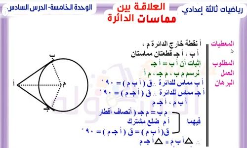شرح درس العلاقة بين مماسات الدائرة للصف الثالث الاعدادى الترم الثاني