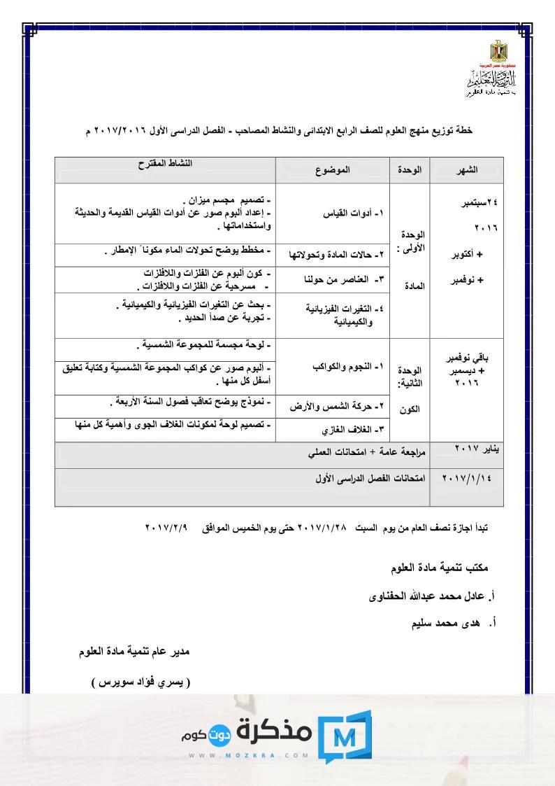 توزيع منهج العلوم للصف الرابع الإبتدائي 2016/2017 الترم الأول
