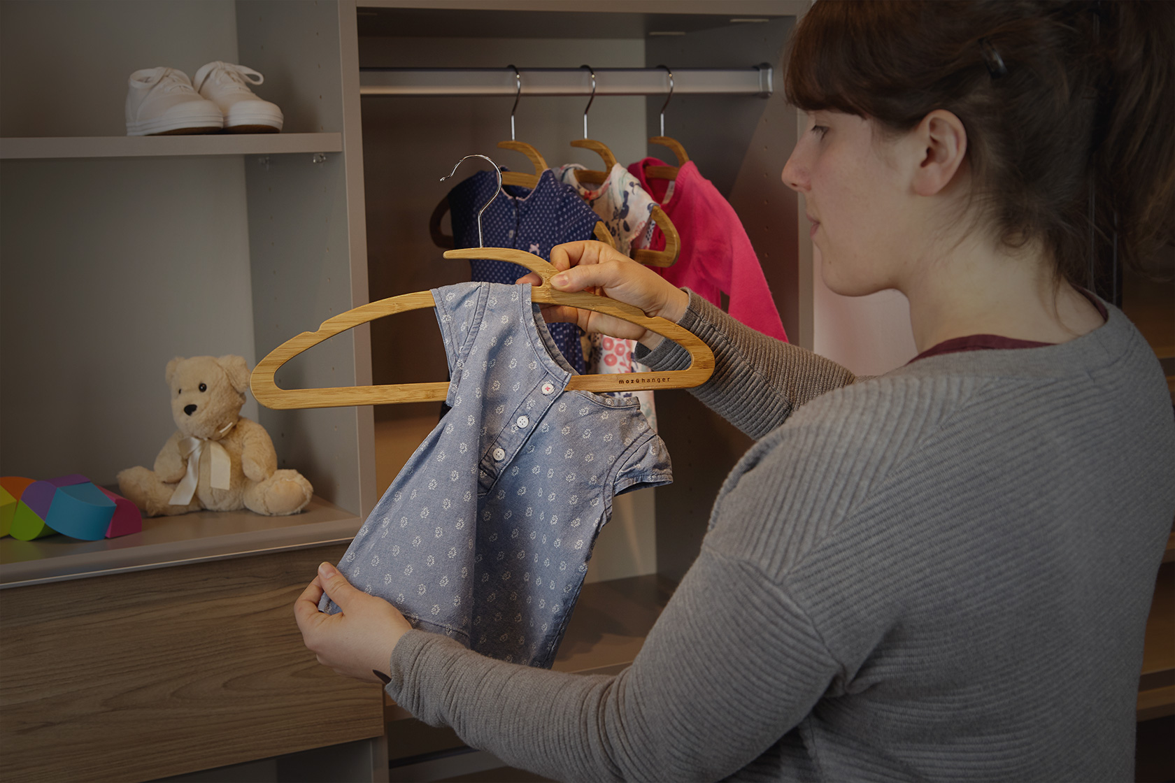 The Mozu Hanger can be used from infant clothing all the way up to adulthood
