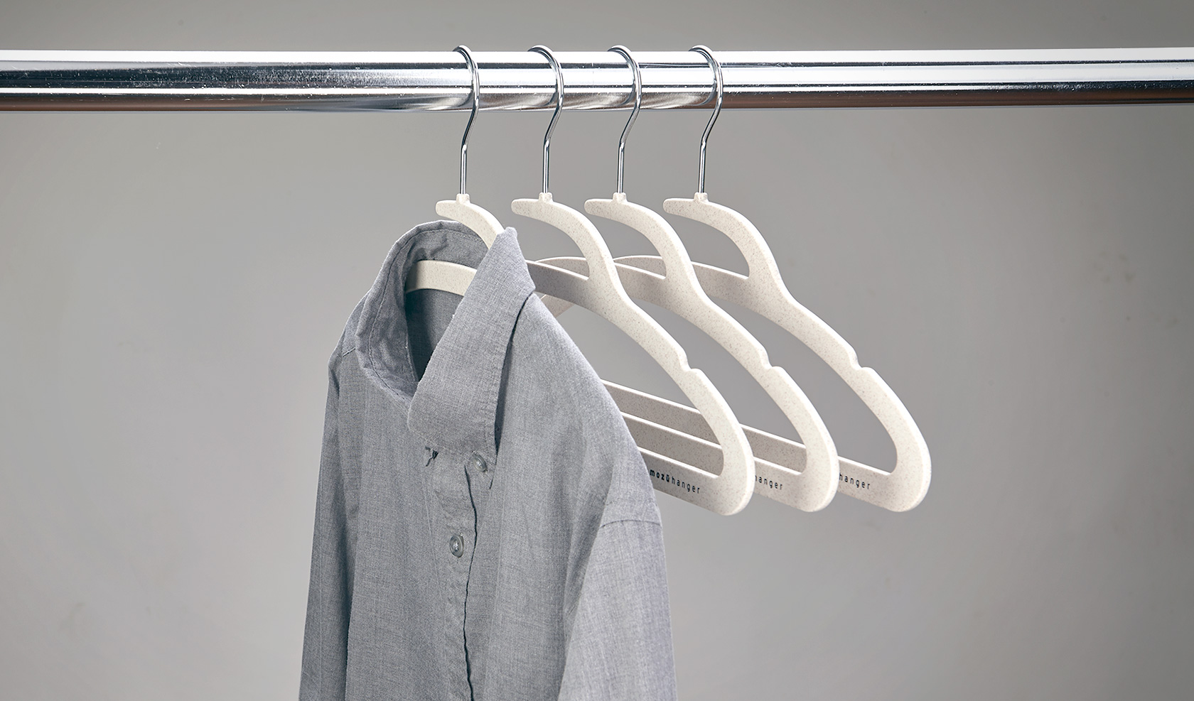 Fully buttoned shirt on wheat straw Mozu Hangers