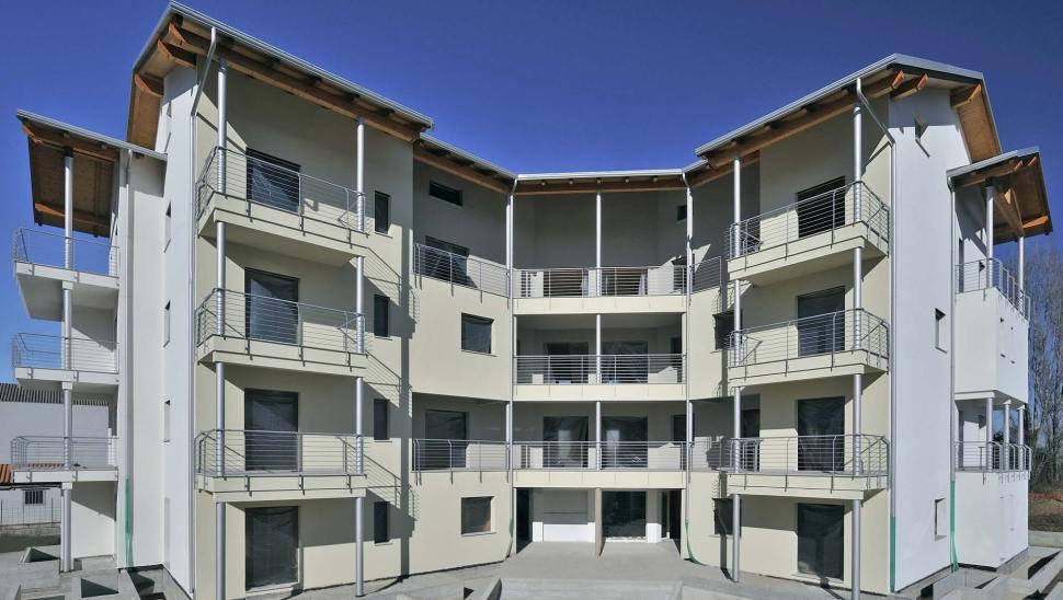 Biocondominio in legno x-lam bbs Piossasco - facciata