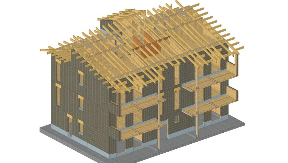 Palazzina legno xlam BBS - Fossano - render 02