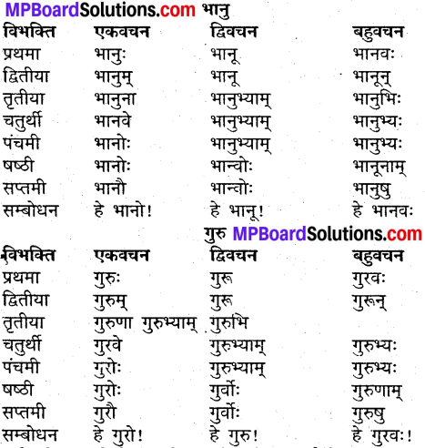 MP Board Class 9th Sanskrit व्याकरण शब्द रूप img-5