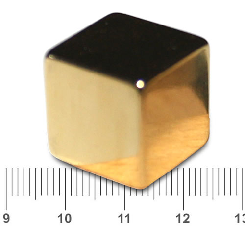 Cube Fridge Magnet NIB Gold N42 25mm