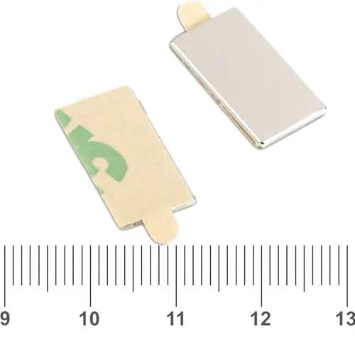 Flat Block NdFeB Magnet w 3M N35 15 x 8 x 1mm