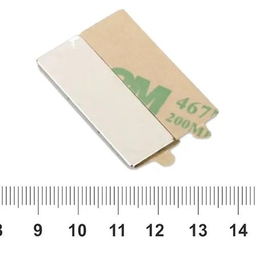 Block Neodymium Self adhesive Magnet N35 30 x 10 x 1mm