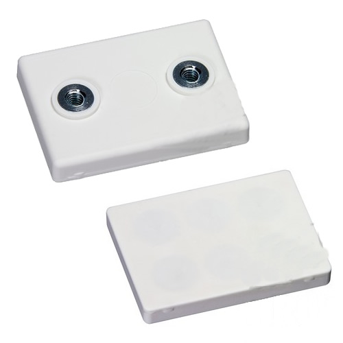 White Rubber Coat Internal Thread Rectangular Pot Magnet