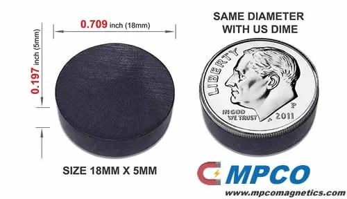 Round Disc Flat Ferrite Crafts Magnets