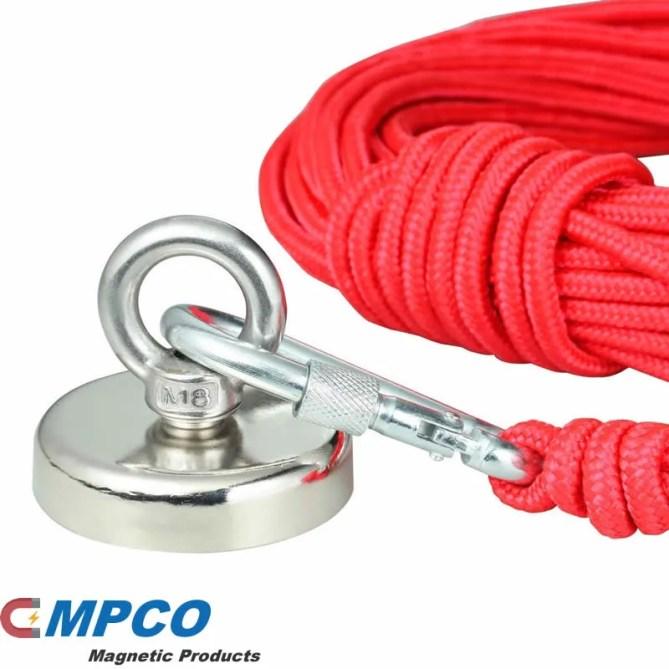 Neodymium Fishing Magnet with Heavy Duty Rope & Carabiner